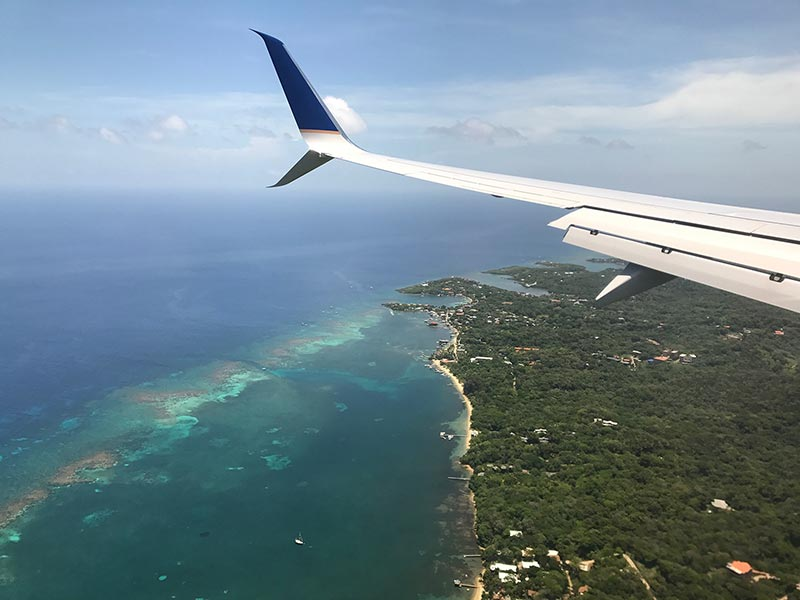 Flying to Roatan